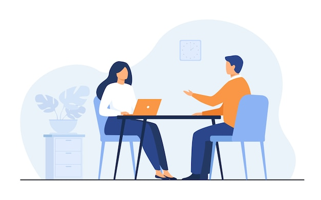 Job interview conversation Free Vector