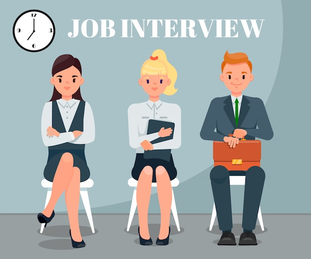 Premium Vector | Job interview flat vector illustration with text
