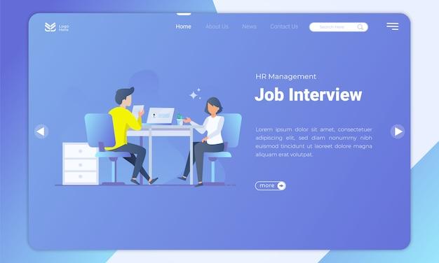 Job interview landing page template Premium Vector