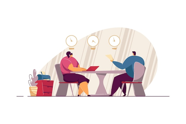 Job interview meeting. employee candidate with cv and hr manager talking in office Premium Vector