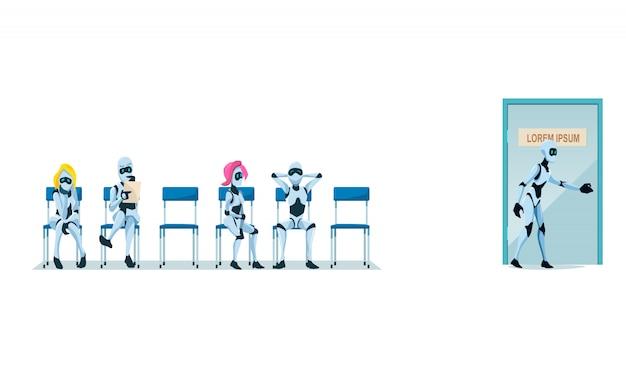 就職面接の募集とロボットベクター。 無料ベクター