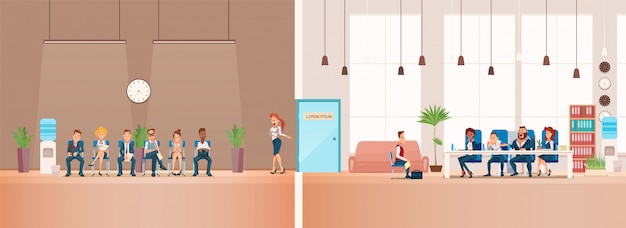 Job interview and recruiting. vector illustration. Free Vector