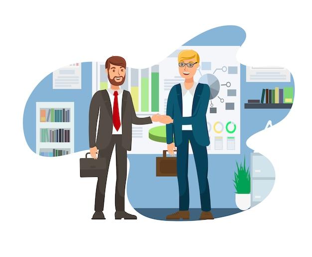 Job interview successful conclusion illustration Premium Vector