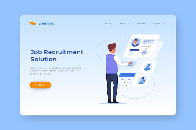Job recruitment solution landing page Free Vector