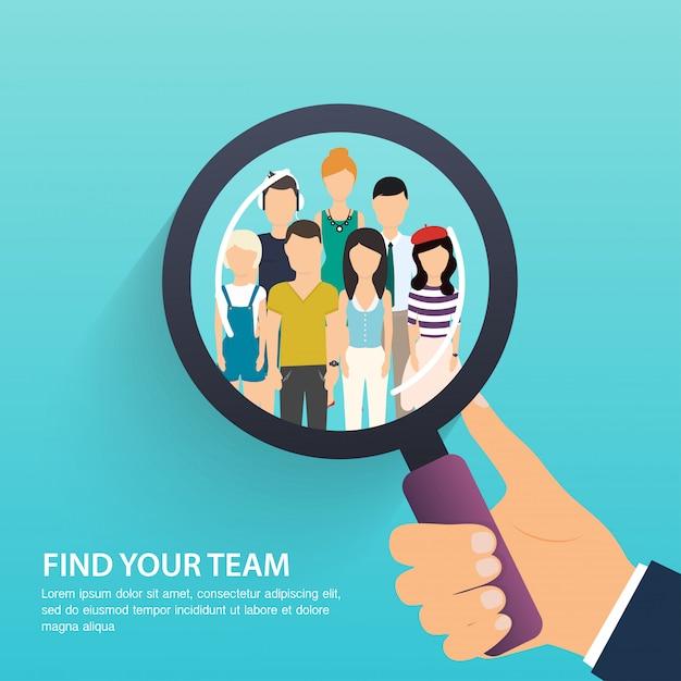 Поиск работы и карьера. управление персоналом и охотник за головами. социальная сеть, медиа концепции. бизнес плоской иллюстрации. Premium векторы