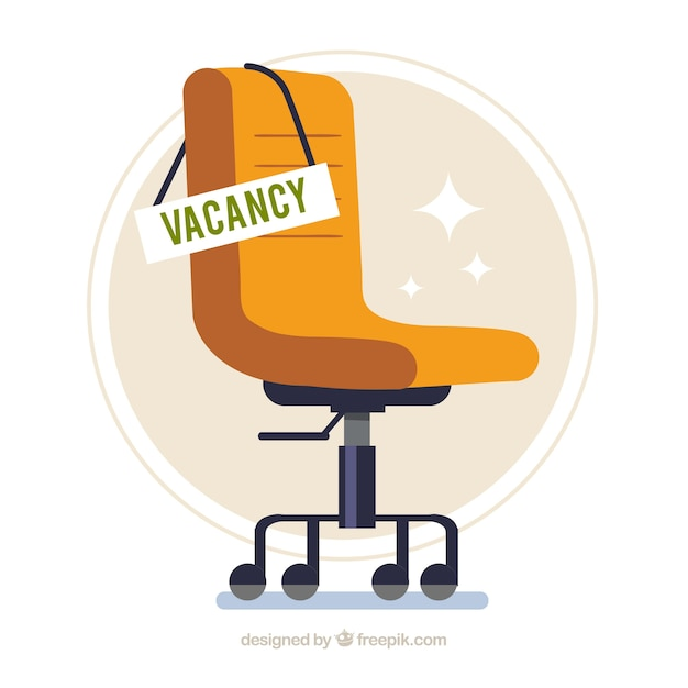 Job vacancy background with chair in flat style Free Vector