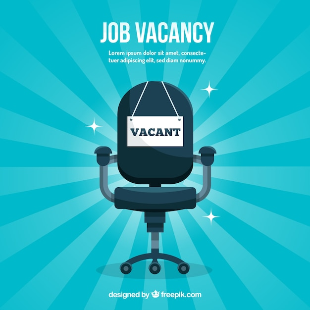 Job vacancy background with chair Free Vector