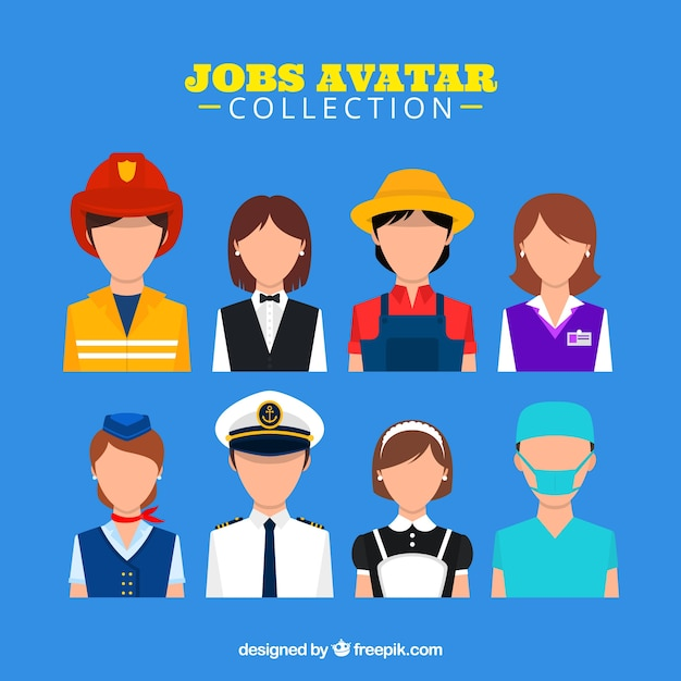 Jobs avatar collection with modern style Free Vector