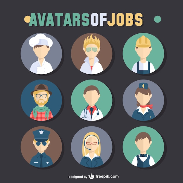 Jobs avatar set Free Vector