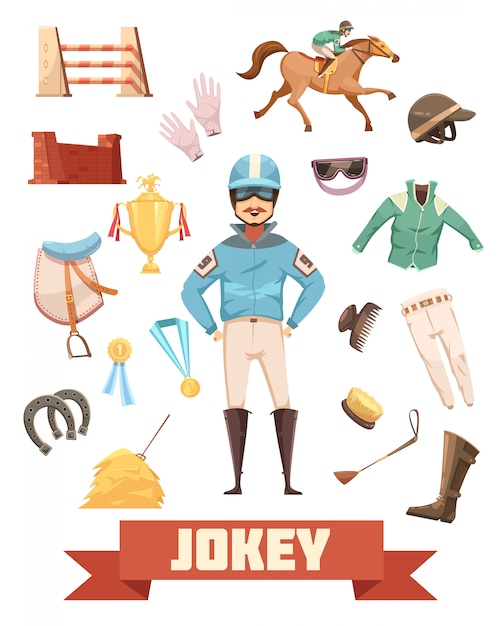 Jockey ammunition decorative icons retro collection with gloves comb boots saddle medals and prizes cartoon vector illustration Premium Vector