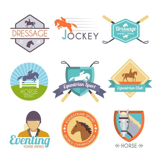 Jockey label set Free Vector