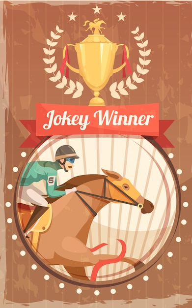 Jockey winner vintage poster with champion cup and rider on galloping horse design elements flat vector illustration Free Vector