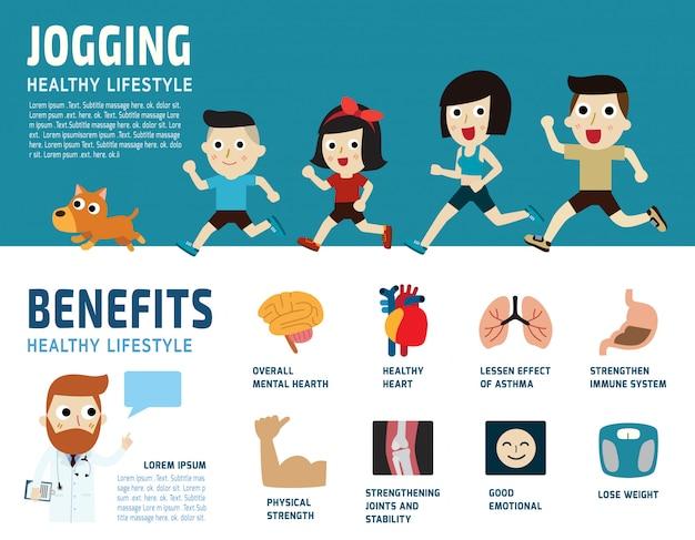 Jogging healthcare concept  illustration. Premium Vector
