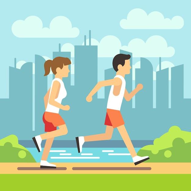 Jogging sport people Premium Vector
