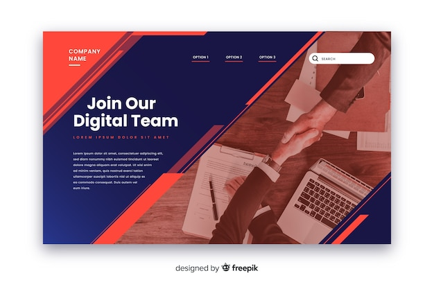 Join our team business landing page Free Vector