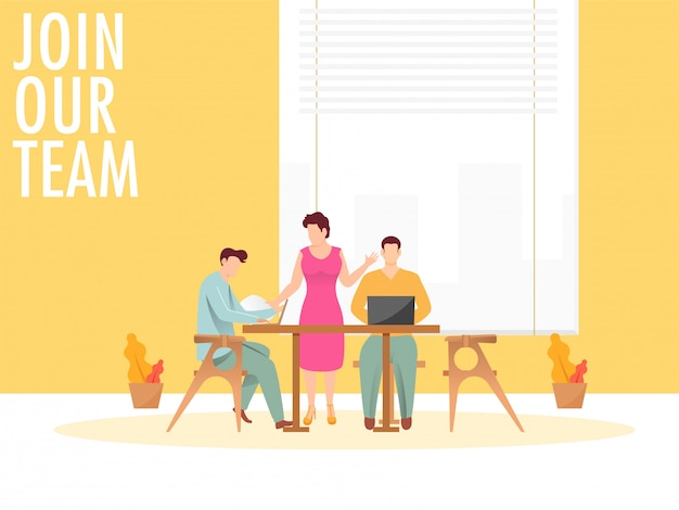 Join our team concept with business man and woman working together on workplace. Premium Vector