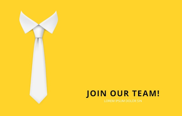 Join our team. hiring and recruitment banner. realistic white man tie  illustration. Premium Vector