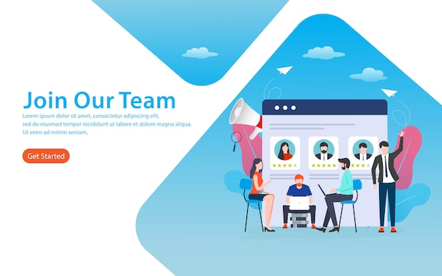 Join our team landing page Premium Vector