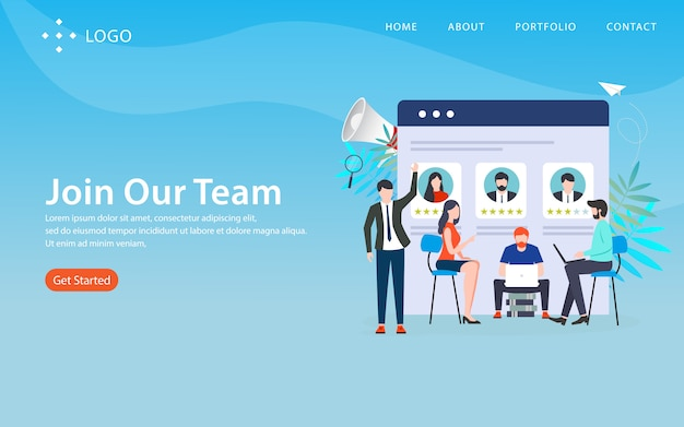 Join our team, website template,  layered, easy to edit and customize, illustration concept Premium Vector
