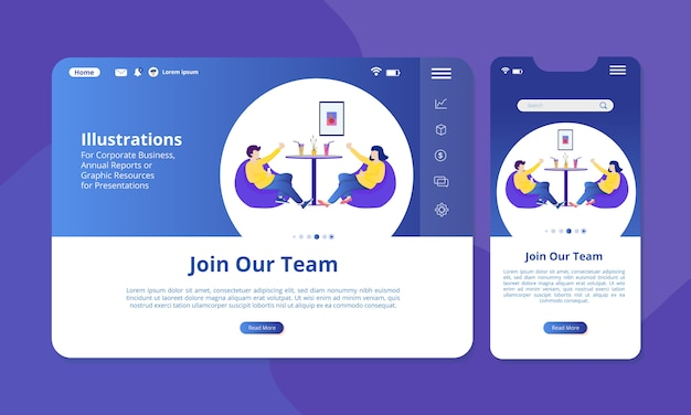 Join out team illustration on the screen for web or mobile display. Premium Vector