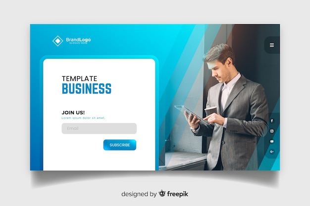 Join us business landing page Free Vector
