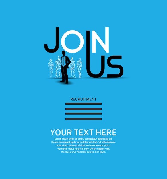 Join us poster blue background Premium Vector