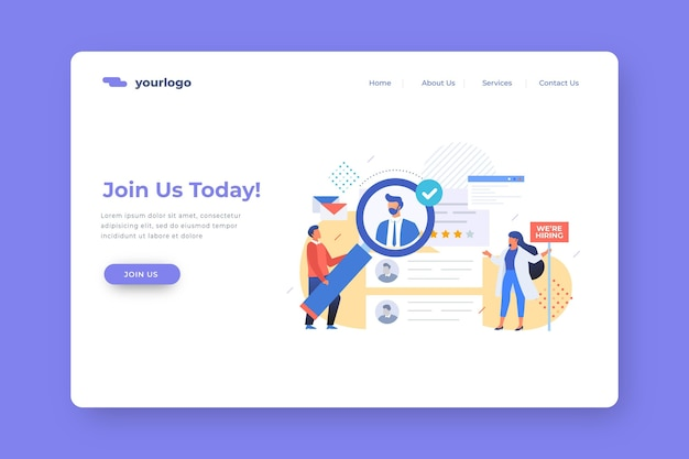 Join us today recruitment landing page Free Vector