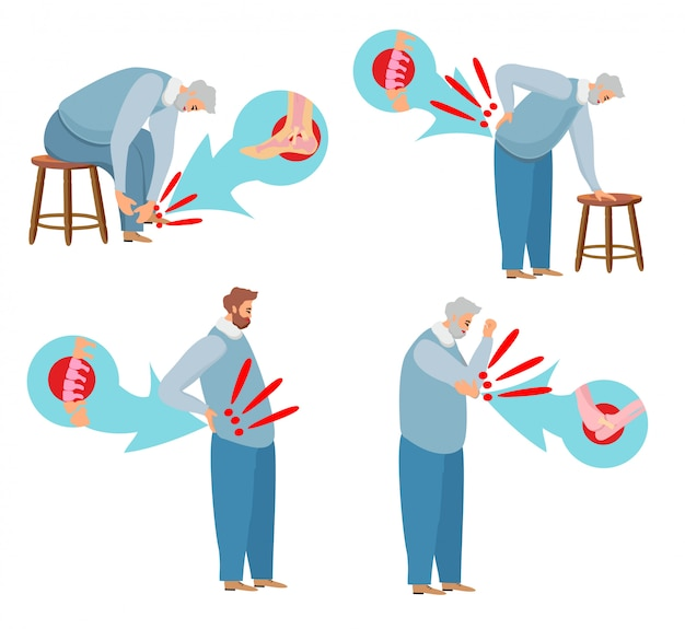 Joint pain. ankle, back pain and lower back, elbow pain. human body pain Premium Vector