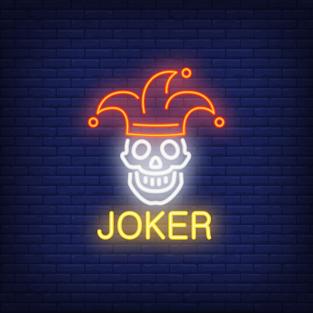 Joker neon sign Free Vector