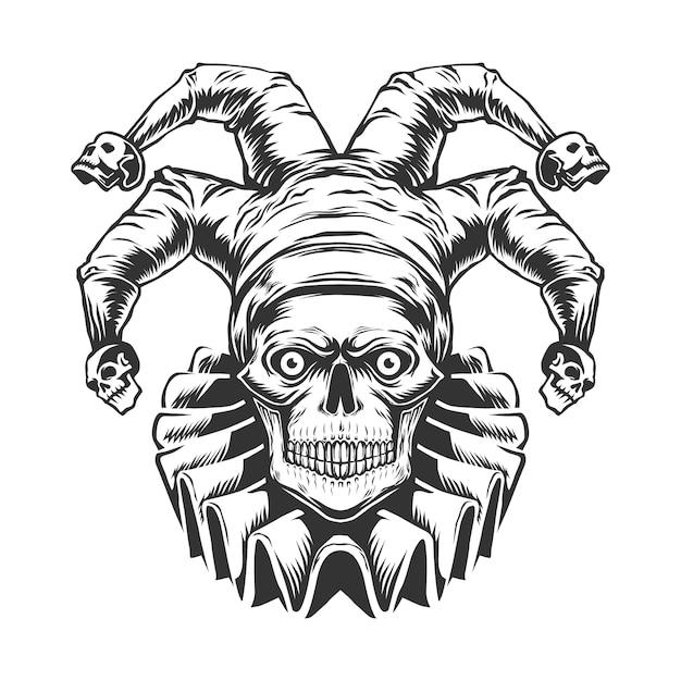 Joker skull, isolated black and white  illustration on the white background. Premium Vector