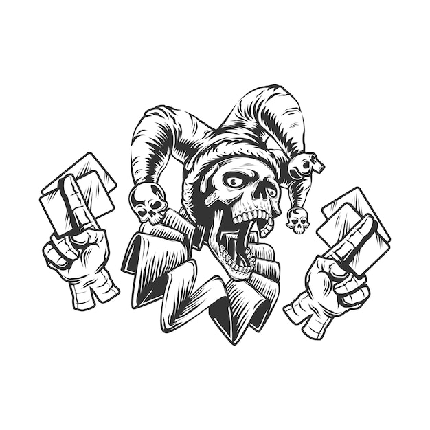 Joker skull with playing cards, isolated black and white  illustration on the white background. Premium Vector