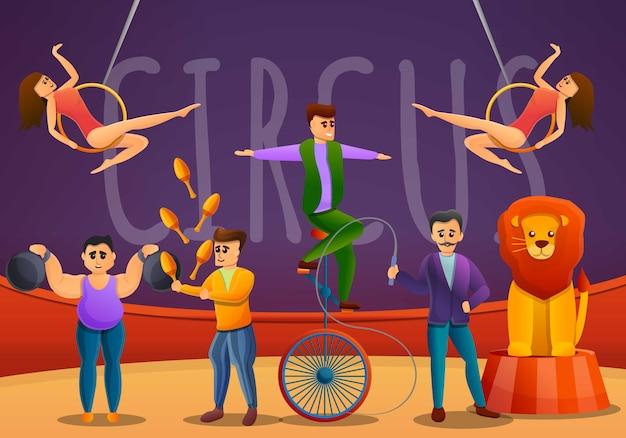 Jongleurs concept banner, cartoon style Premium Vector