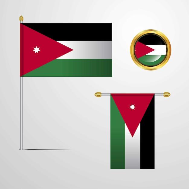 Jordan waving flag design with badge vector Free Vector