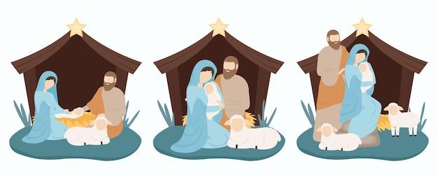 Иосиф и мария с иисусом рождаются в хлеву в яслях Premium векторы