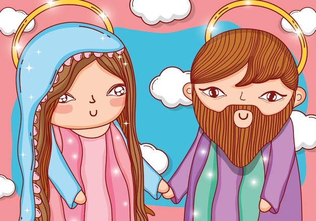 Joseph and mary together with nice clouds Premium Vector