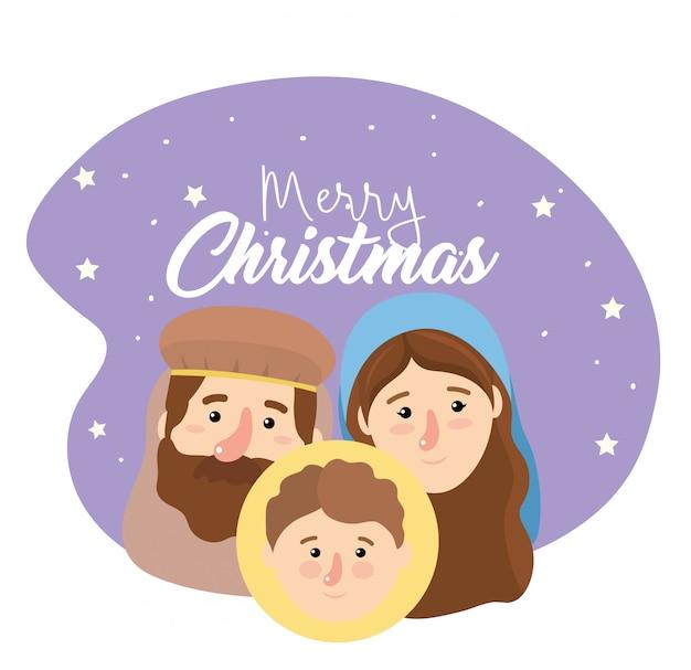 Joseph and mary with jesus to happy epiphany Premium Vector