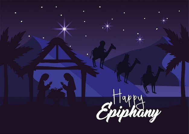 Joseph and mary with jesus in the manger and magicians kings Premium Vector