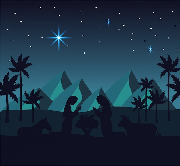 Joseph and mary with jesus in the mountains desert Premium Vector
