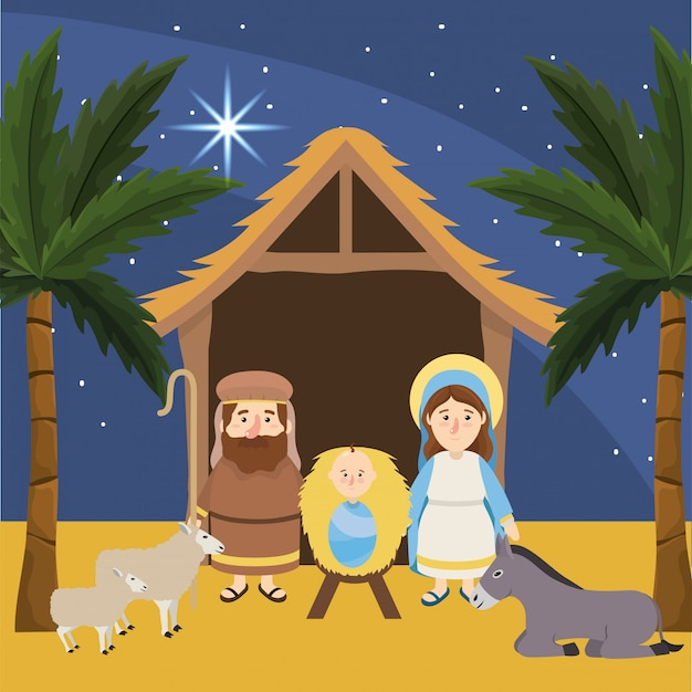 Joseph with mary and jesus in the manger Premium Vector
