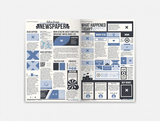 Journal newspaper template with fresh news Premium Vector