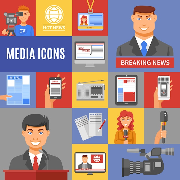 Journalism icons set Premium Vector