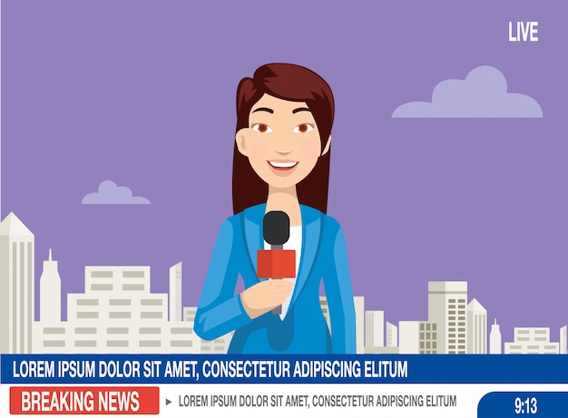 Journalist are ready announce the news on the studio tv Premium Vector