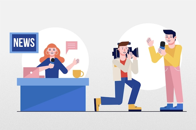 Journalist collection concept Free Vector