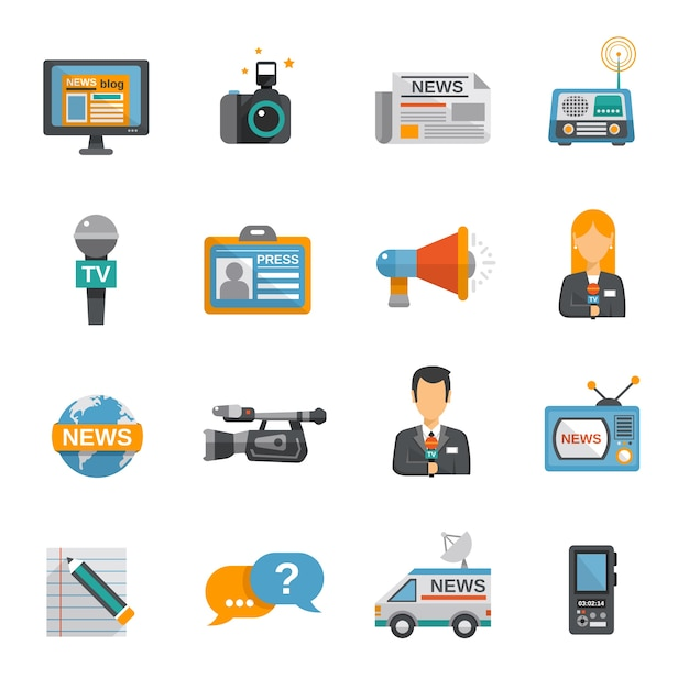 Journalist Icon Flat Free Vector