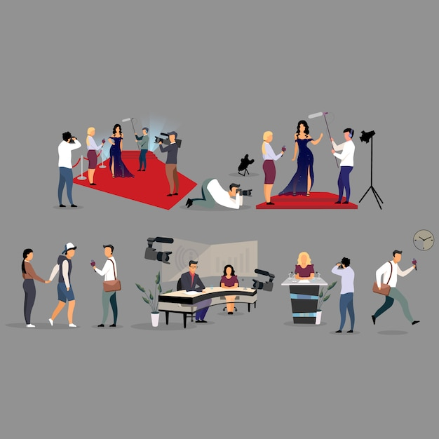 Journalist interviewing flat illustration set. correspondents, photographers cartoon characters. reporters, interviewers with microphone recording, broadcasting. journalism, mass media, tv industry Premium Vector