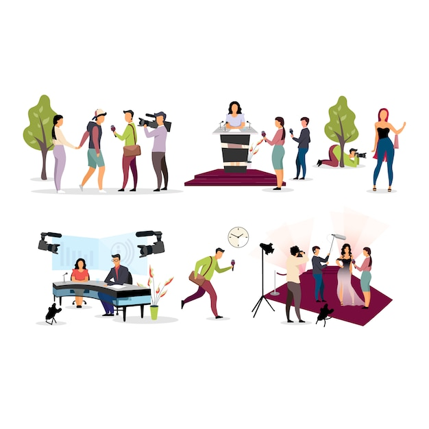 Journalist interviewing flat  illustration set. paparazzi, cameraman, photographer cartoon characters. reporters, interviewers with microphone, videographer with camera. press, journalism Premium Vector