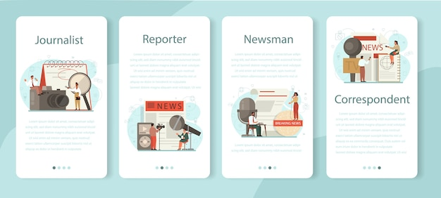 Journalist mobile application banner set. tv reporter with microphone. mass media profession. newspaper, internet and radio journalism. vector illustration in cartoon style Premium Vector