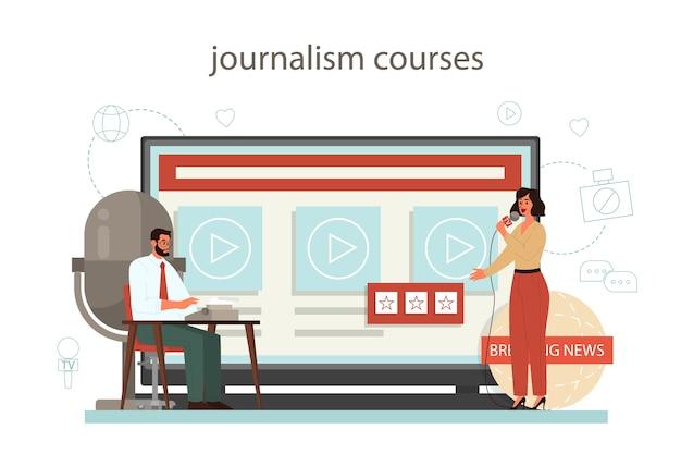 Journalist online service or platform. mass media profession. newspaper, internet and radio journalism. journalism course. Premium Vector