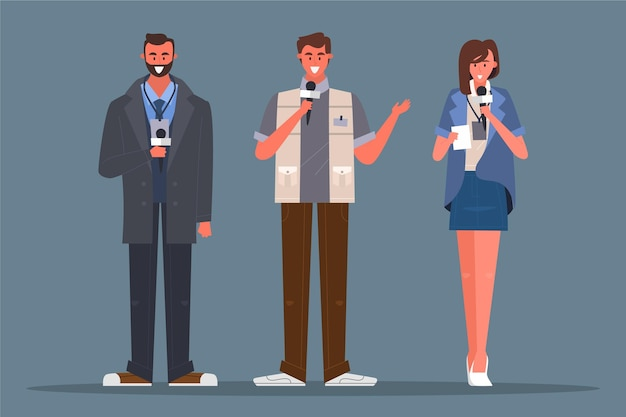 Journalist people ready to take interview Free Vector