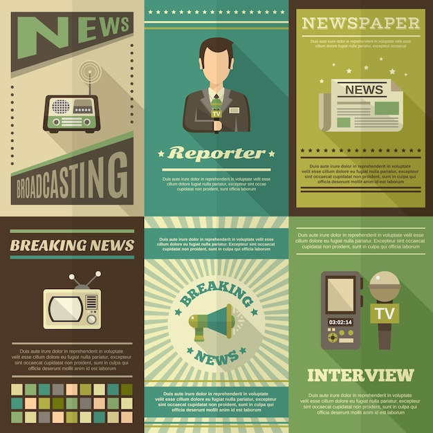 Journalist Poster Set Free Vector